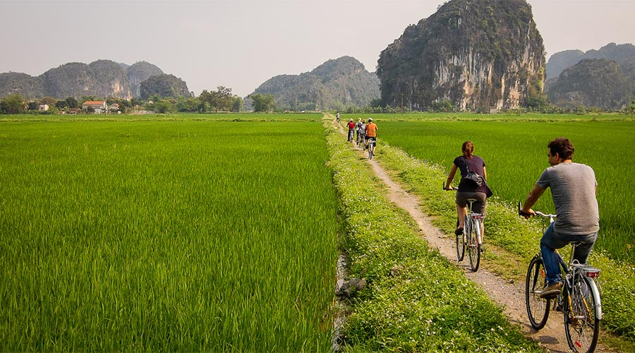 Biking at Tam Coc
