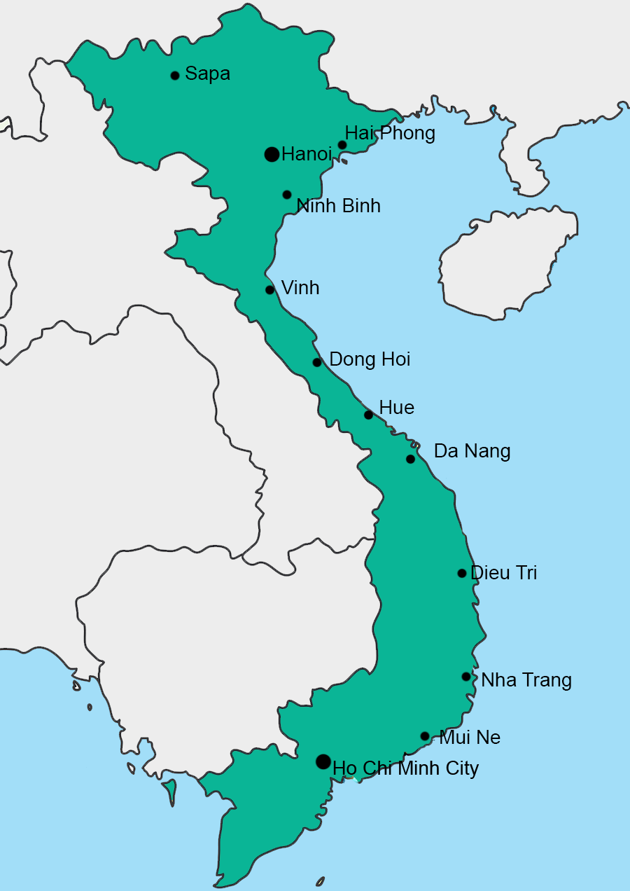 Map of train stations in Vietnam