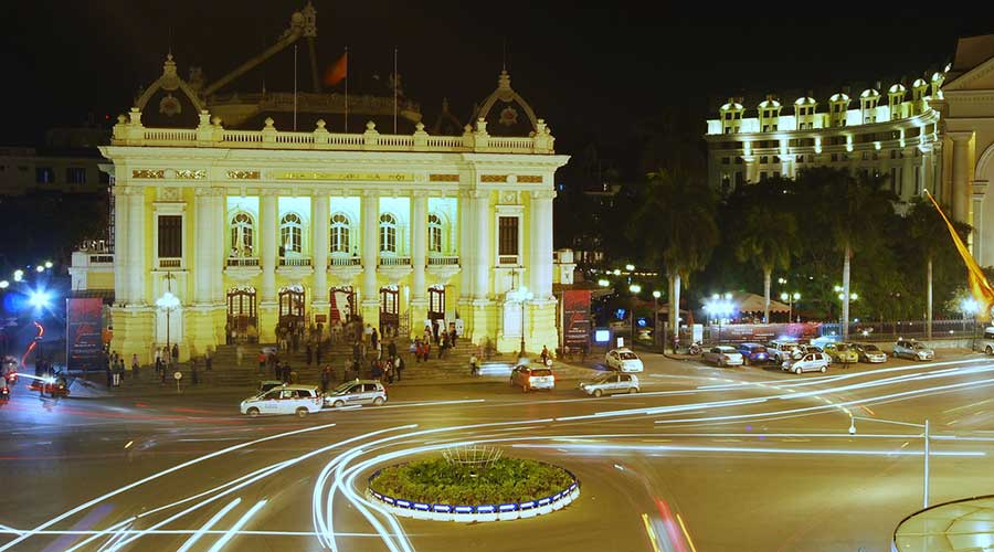 Opera house in the evening