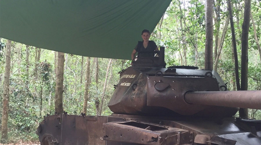 tank at the Cu Chi tunnel tour