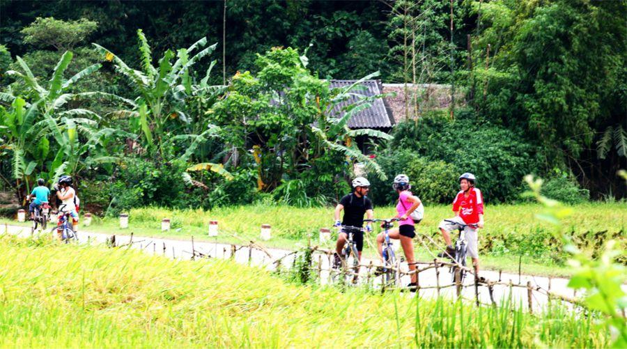 Biking through countryside of My Son