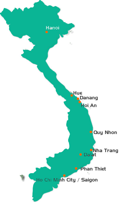 Golf map of Vietnam