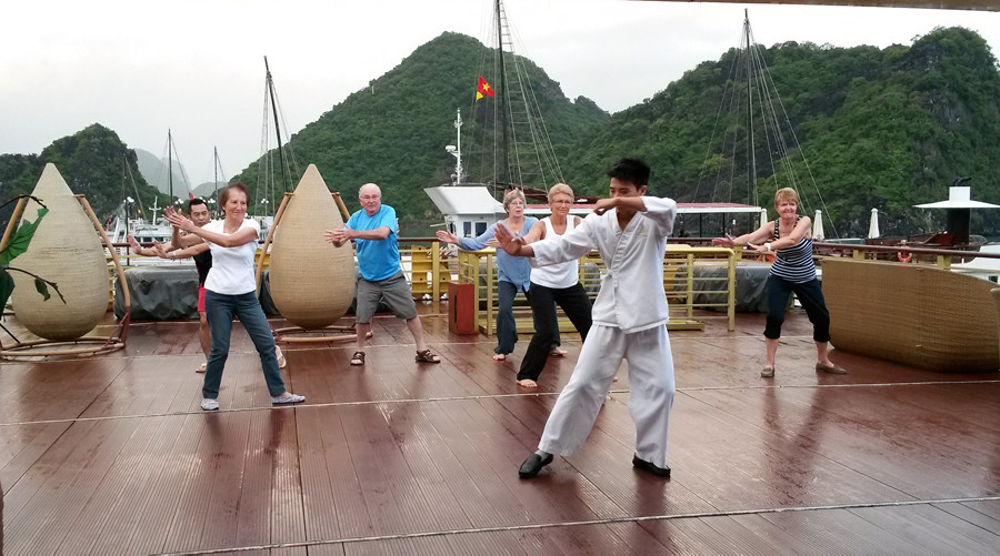 Tai Chi at a cruise in Halong Bay